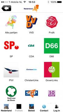Nederland 2.0 menu politieke partijen